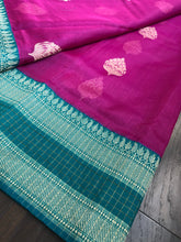 Tussar Silk Banarasi - Pink Rama Green Zari checkered