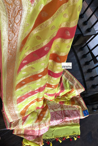 Khaddi Georgette Banarasi - Lime Yellowed