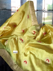 Pure Chanderi Silk - Yellow Red Eknaliya Woven