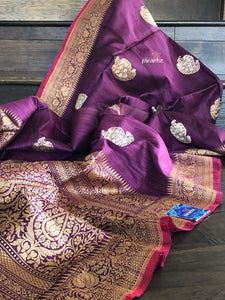 Pure Tussar Silk Benarasi - Deep Purple Silver Golden Paiesley