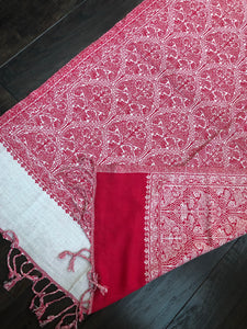 Jamavar Wool Stole - Red White Reversible