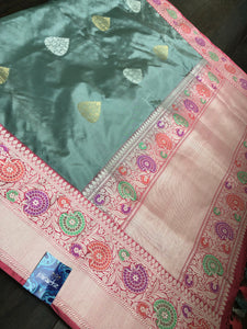 Pure Katan Silk Benarasi - Grey Golden Silver Zari