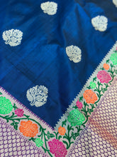 Pure Katan Silk Benarasi - Royal Blue Dual