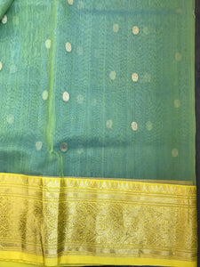 Pure Chanderi Katan Silk - Pear Green Yellow