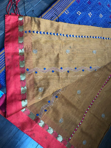 Designer Cotton Silk  - Brownish Ochre Yellow Blue Kantha Stitch Palla