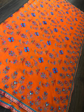Designer Saree - Orange Hand Embroidered