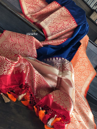 Pure Katan Silk Banarasi - Navy Blue Red Orange