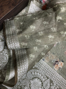 Pure Silk Linen Digital Print - Moss Green Floral
