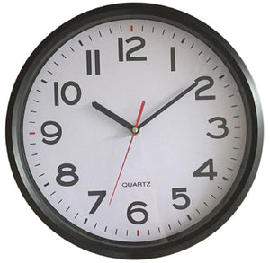 10 Inch Modern Round Black Wall Clock Large Numbers