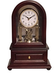 Wood Desk Clock with Revolving Pendulum