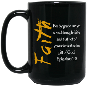 Faith 1b BM15OZ 15 oz. Black Mug