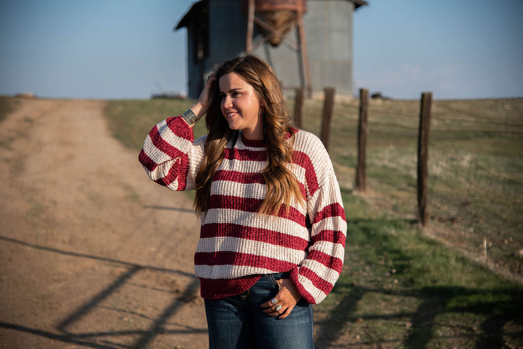 Berry Striped Sweater - The Beef Boutique