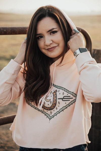 Lucky Desert Blush Crop Hoodie - The Beef Boutique