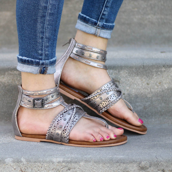 Not Rated Xylia Sandal in Pewter - The Beef Boutique