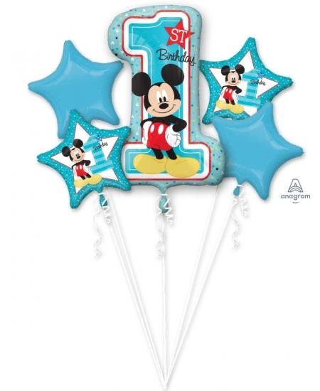 1st Birthday Mickey Balloon Bouquet and Weight