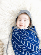 OVer Reversible Swaddle - Noah. Blue and white.