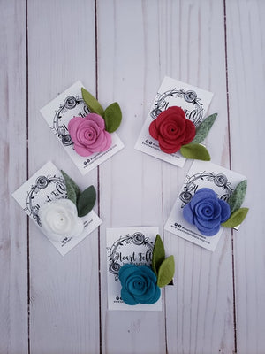 Heartfelt Single Rose Clips (Multi Colors available)