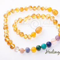 Healing Amber Gold and Gemstone Medley Necklace
