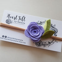 Heartfelt Single Rose Headband (Multi Colors available). Color is Lilac