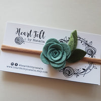 Heartfelt Single Rose Headband (Multi Colors available). Color is Spring Mist