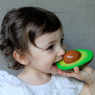 Oli & Carol Arnold the Avocado. Eco friendly chewable fruit-shaped baby toy for sensory play, teething and bath time. Little gums love its texture and also it stimulates baby's senses.