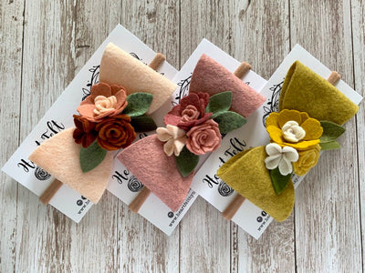 Heartfelt Felt + Flower Bow - Large (Multi Colors available)
