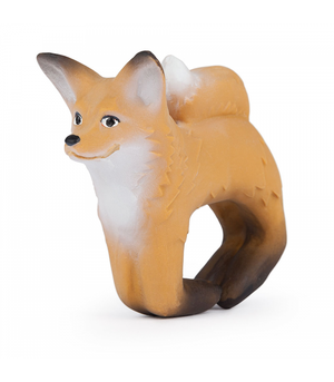 Oli & Carol Rob the Fox. These Eco friendly bracelets are soft and easy to grip and place around the wrist, little baby gums love the texture of natural Hevea rubber.