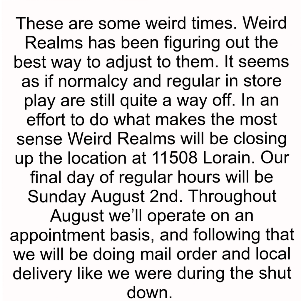 Changes to Weird Realms