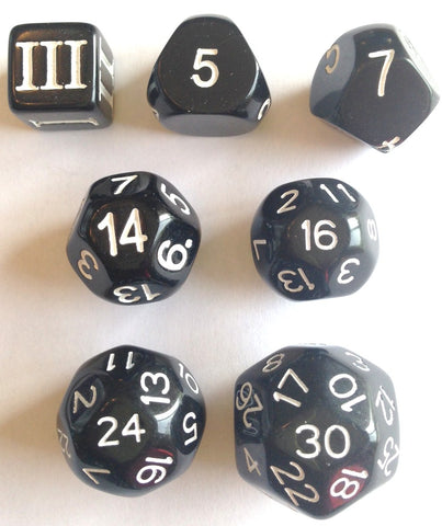 Approved for Dungeon Crawl Classics - 7 dice Black