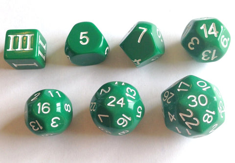 Approved for Dungeon Crawl Classics - 7 dice Green