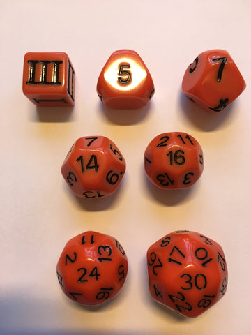 Approved for Dungeon Crawl Classics - 7 dice Orange