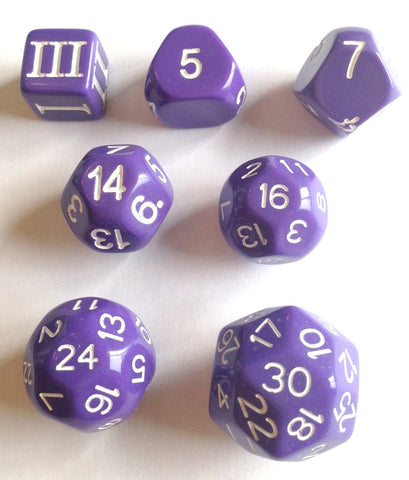 Approved for Dungeon Crawl Classics - 7 dice Purple