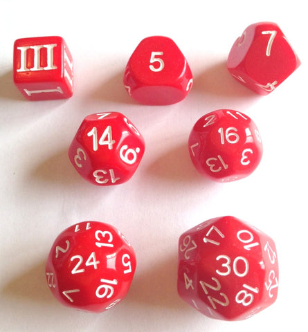 Approved for Dungeon Crawl Classics - 7 dice Red