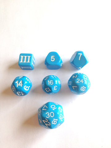 Approved for Dungeon Crawl Classics - 7 dice Blue