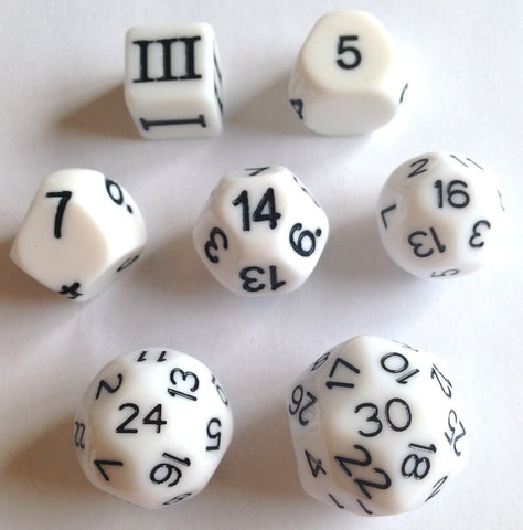 Funky Dice - Approved for Dungeon Crawl Classics - 7 dice - White
