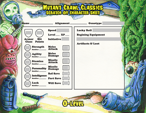 Mutant Crawl Classics Scratch Off Character Sheets