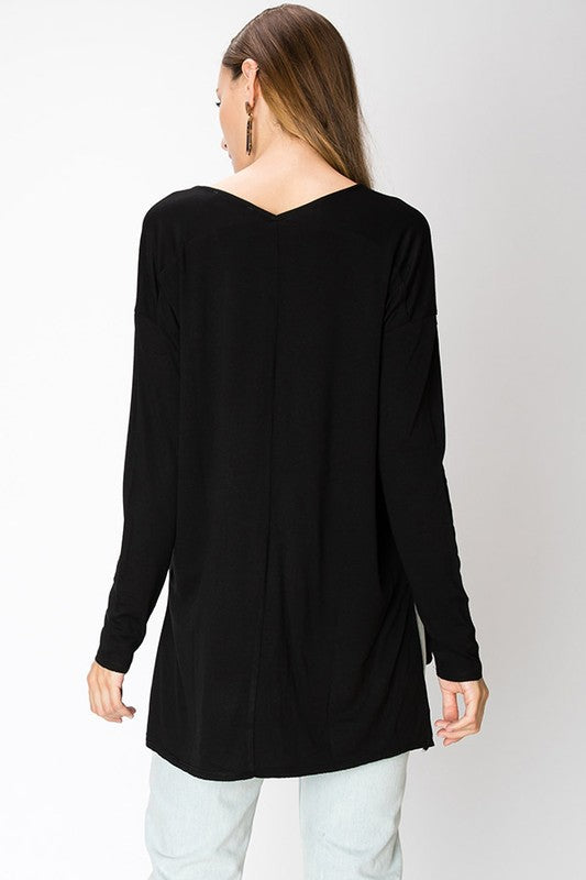 Simple V Neck Long Sleeve With Side Slits