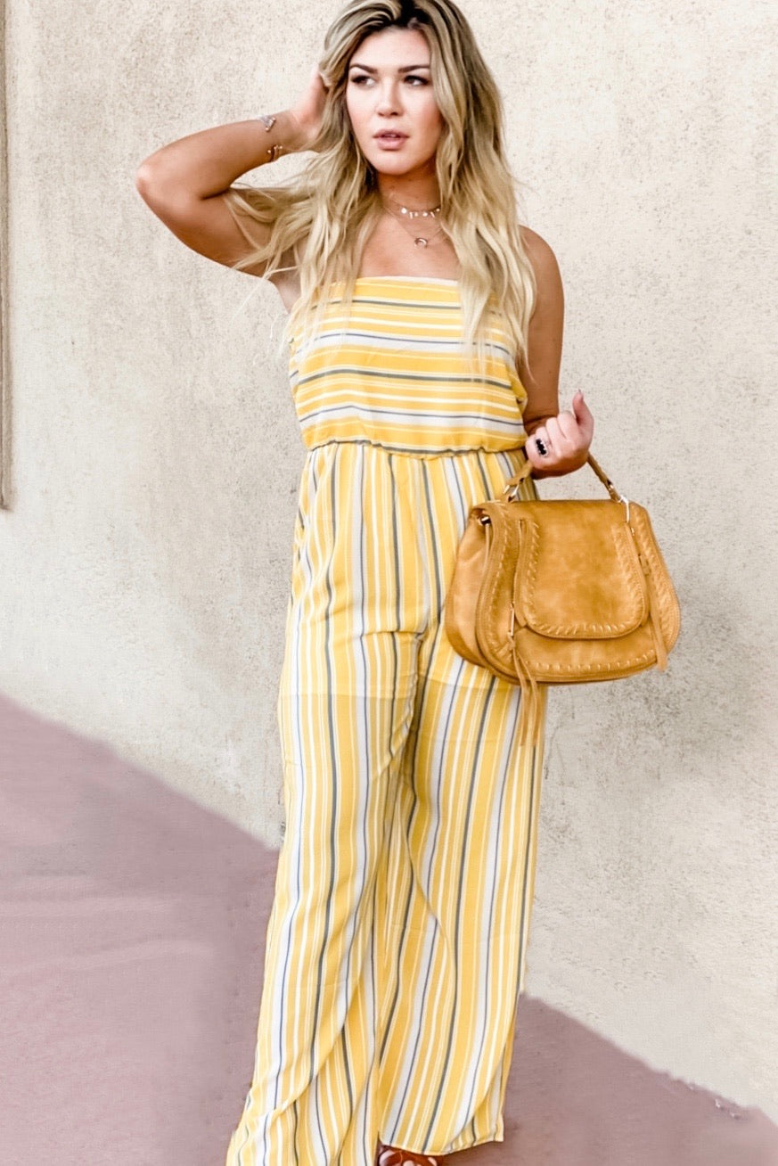 Strapless Yellow Striped Jumpsuit