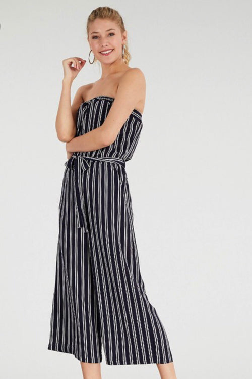 Striped Jumpsuit with Tie