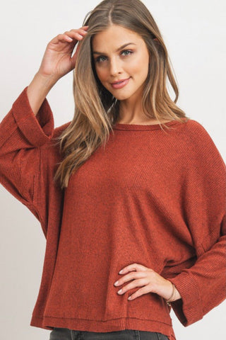Shimmering pink Knit Dolman Sleeve Top
