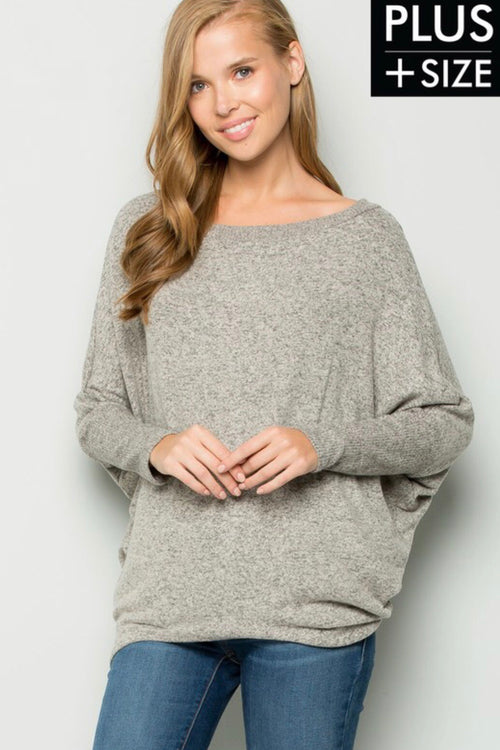 Scoop Neck Dolman Top (Plus Size)