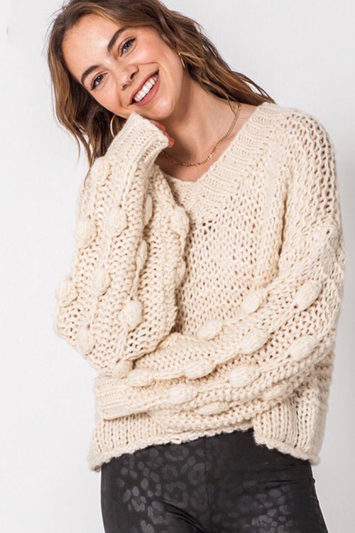 Pom Pom Sleeve V-Neck Sweater