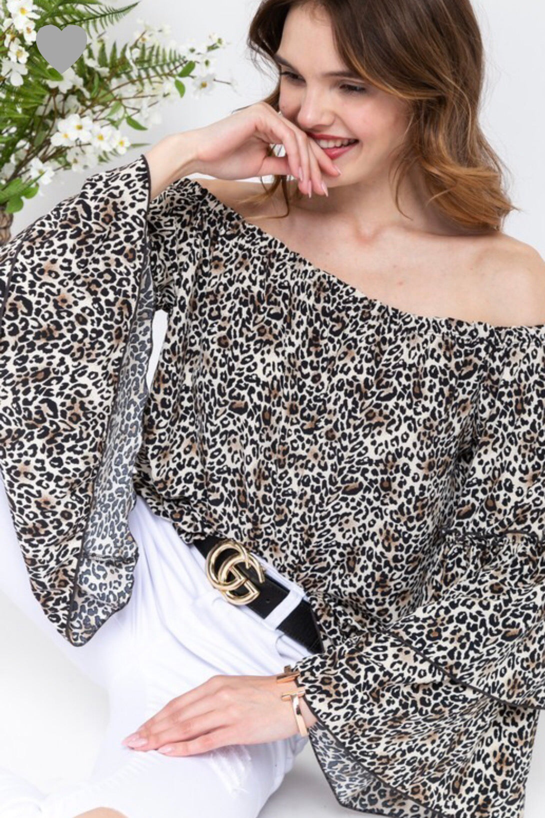 Off Shoulder Ruffle Sleeve Leopard Animal Print Top