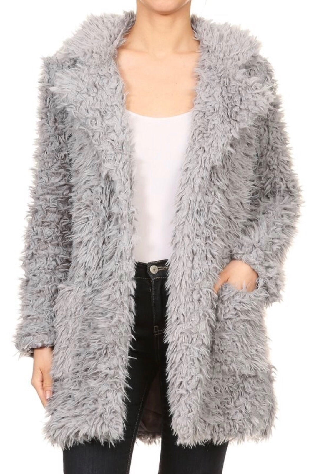 Faux Fur Long Jacket