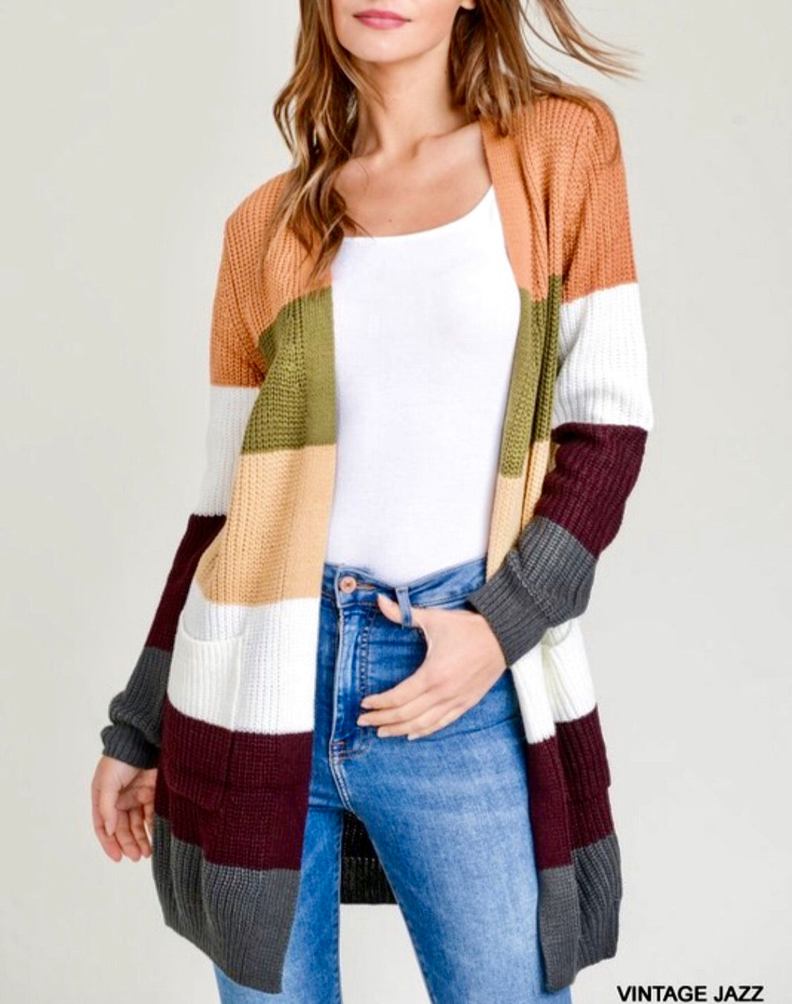 Color Block Pocketed Cardigan