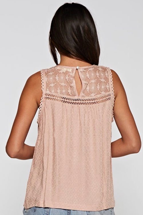 Eyelet Embroidered Lace Tank Top