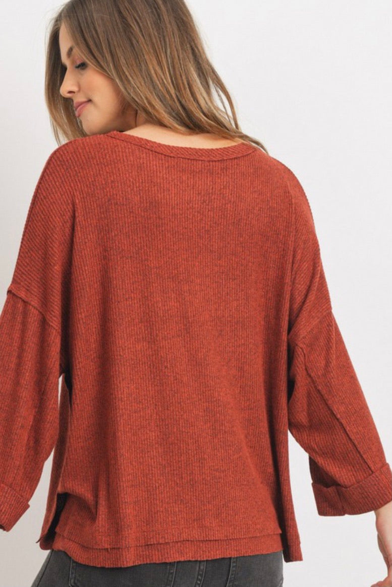 Brushed Ribbed Boxy Top