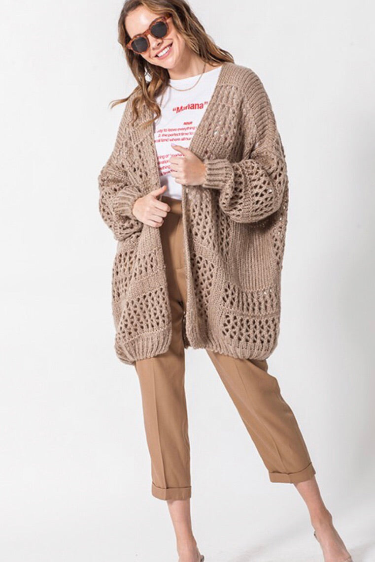 Long Crochet Cardigan Sweater