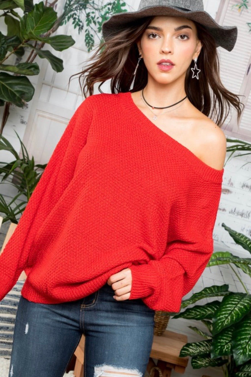Red Oversized Sweater Top