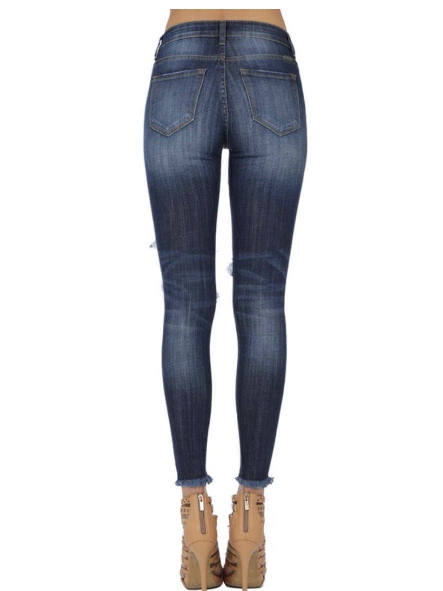 Bella Dark Wash Distressed Skinny Jeans